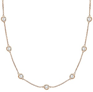 JewelryNest 14k Solid Gold Round Diamonds By The Yard Necklace