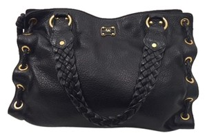 Michael Kors Gold Hardware Leather Tote in Black