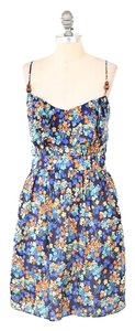 Shoshanna short dress Blue Floral Flounced Empire Waist Beaded on Tradesy