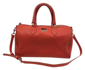Dooney & Bourke Leather Gold Hardware Satchel in Orange