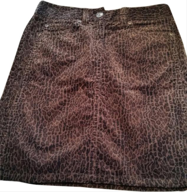Ann Taylor Mini Leopard Animal Mini Skirt Brown and black print