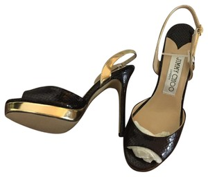 Jimmy Choo Leather Sling Black with gold accents Pumps