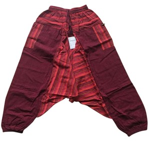 Other Harem Comfy Relaxed Pants red and patches of orange/red/yellow stripes