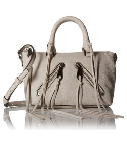 Rebecca Minkoff Moto Mini Fringe Satchel in Gray