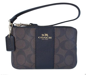 Coach Signature Corner Zip Wristlet in Brown Black