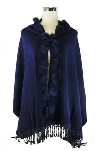 Blue Fur Pom Pom Fringed Accent Shawl Wrap Cape Poncho