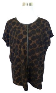 Vince Camuto Animal Print Faux Leather Top Black