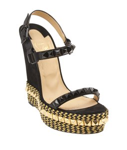 Christian Louboutin Studded Gold & Black Gold,Black Wedges