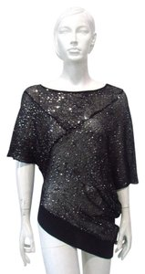 Frank Lyman Dolman Sequin Sheer Black Top Gray