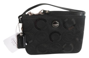 Coach Sequin Satin Wristlet in Black