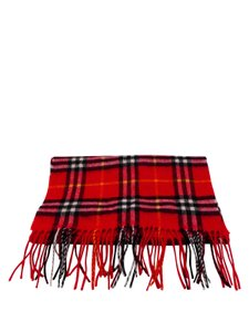 Burberry Burberry Check Red 100% Cashmere Scarf