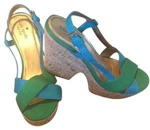 Kate Spade Wedge Kelly Green and Blue Wedges