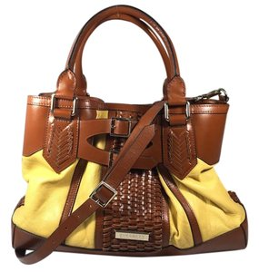 Burberry With Woven Leather Satchel in Brown/Mustard