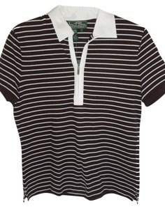 Ralph Lauren Knit Short Sleeve T Shirt brown/white stripe