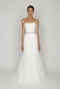 Monique Lhuillier Strapless Lace Wedding Dress With Beaded Waist Wedding Dress