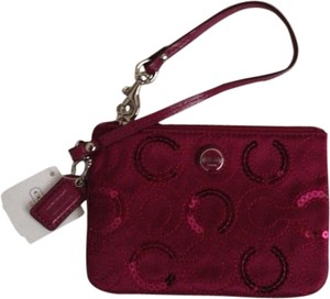 Coach Sequin Satin Wristlet in Purple Berry
