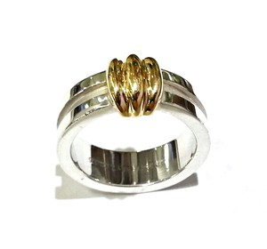 Tiffany & Co. Tiffany & Co 18K and Sterling Silver Atlas Ring Sz.7
