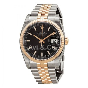 Rolex Datejust 36 Stainless Steel & Everose Gold Black Dial 116231