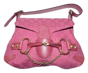 Gucci Equestrian Accents Bold Gold Accents Rare Unique High-end Bohemian Mint Vintage Satchel in pink leather and pink large G logo print canvas