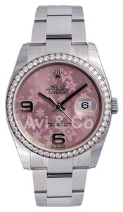 Rolex Datejust 36 Stainless Steel Pink Floral Dial Diamond Bezel 116244