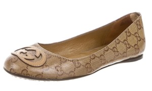 Gucci Monogram Round Toe Gg Horsebit Beige, Brown Flats