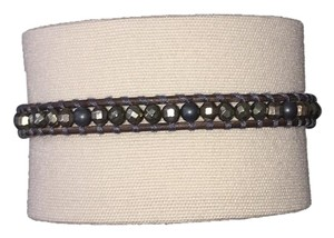 Chan Luu MATTE HEMATINE SINGLE WRAP BRACELET ON NATURAL GREY LEATHER