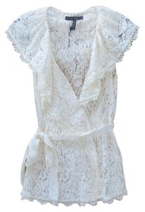 BCBGMAXAZRIA Shirt Lace New Top Ivory