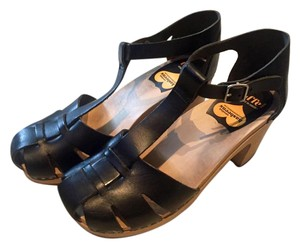 swedish hasbeens Wooden Heel Leather Black Mules