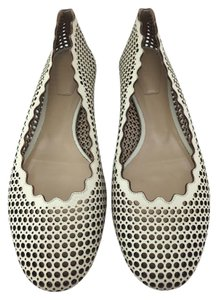 Chlo Chloe Lauren Ballet Perforated Beige Flats