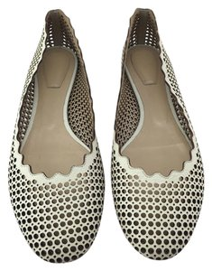 Chlo Chloe Perforated Scalloped Beige Flats