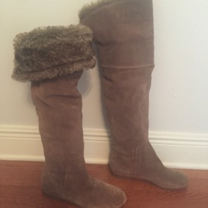 Sam Edelman Suede Over the Knee Boots with Fur Light Brown Boots