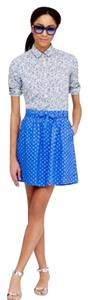 J.Crew Polkadot Linen Pockets Mini Skirt Blue / white
