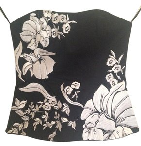 White House | Black Market Embroidered Strapless Top Black and White
