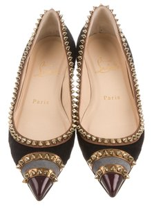 Christian Louboutin Pointed Toe Hardware Black, Gold Flats