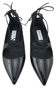 Jimmy Choo Pointy Toe Lace Up Gita Ghillie Black Flats