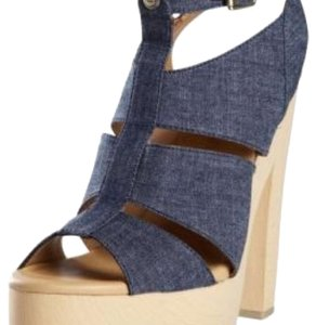 Calvin Klein Blue Denim Platforms