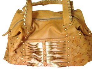 Beverly Feldman Tote Satchel in tan/ gold