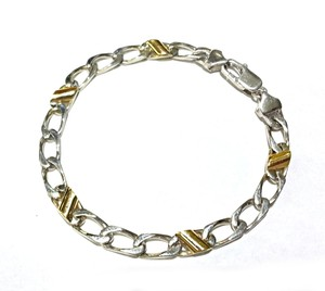 Tiffany & Co. Cuban Link Tiffany & Co Sterling & 18 K Gold Italian Bracelet 7.5