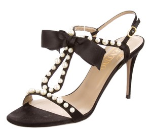 Valentino Pearl Embellished Black, White Sandals