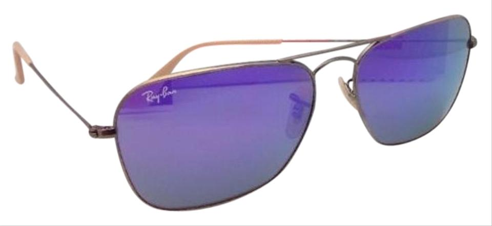 594087a4b71 Ray-Ban Caravan Rb 3136 167 1m 58-15 Bronze Aviator W  Purple Mirror ...