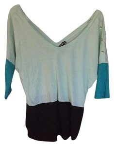 Express Top Black, teal and blue
