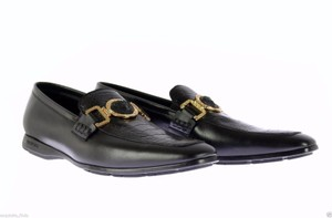 Versace Black New Ostrich and Leather City Loafers Shoes
