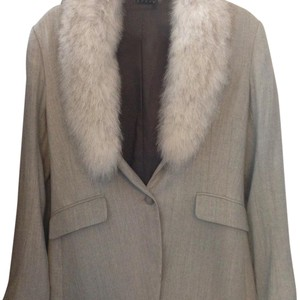 Theory Fox Fur Wool Removable Gray Blazer