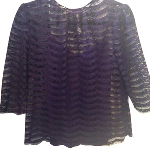 MILLY Scalloped Lace Keyhole Top Purple, Lavender, Violet