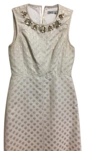 Eliza J short dress White/Metallic Studded Pearl Gold on Tradesy