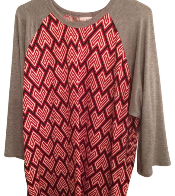 Item - Red Black White and Gray Randy Blouse Size 26 (Plus 3x)