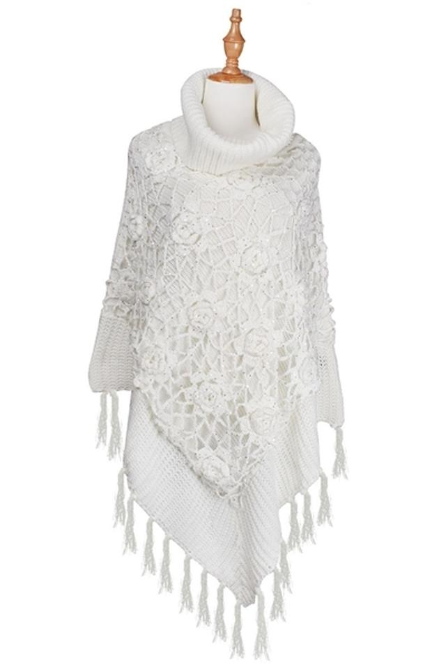 deaf69c7c White Fringed Trimmed Accent Hand Crochet Overlay Knitted Poncho/Cape. Size:  OS ...