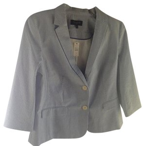 Talbots Petite Office Light Blue and White Pinstripe Blazer