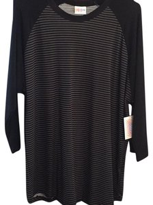 LuLaRoe Top Black sleeves with black and gray striped body