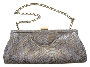 Inge Christopher Leather Snakeskin Gray and gold Clutch